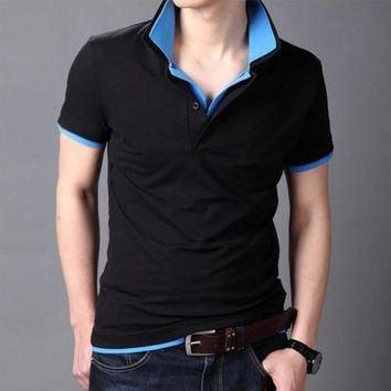 Men's Solid Two-Tone Cotton Polo Shirt