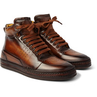 Berluti - Playtime Burnished-Leather High-Top Sneakers | MR PORTER