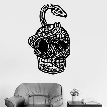 Vinyl Wall Decal Sugar Skull Snake Coolest Room Decoration Stickers Unique Gift (ig3090)
