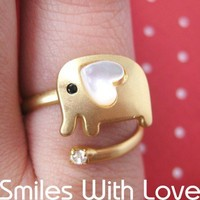 Adjustable Elephant Wrap Ring in Gold with Heart Shaped Ears - ALLERGY FREE