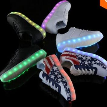2016 LED shoes 7 Colors LED sneakers luminous shoes men & women fashion sneakers USB light up sneakers for adults glowing shoes