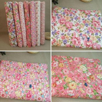Trendy 7Pcs/Set Quilting Fabric Floral Cotton Cloth DIY Craft Sewing Handmade Accessory