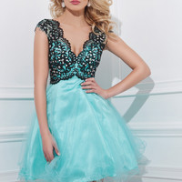 Tony Bowls TS11465 -Black/Aqua Lace V-Neck Short Prom Dresses Online