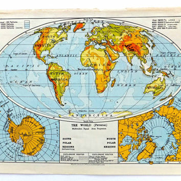 Vintage World Map - 1961 map of the World, home decor, travel, souvenir