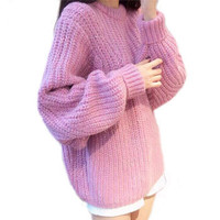 Pink Wool Blends Pullover Sweater