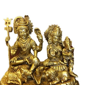 Indian Religious Gift God Shiva Ganesha Parvati Family Brass Idol Sculpture Statue India