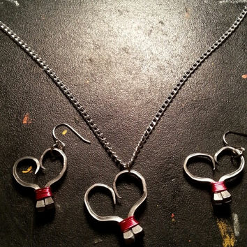 Hot pink wire wrapped horseshoe nail heart necklace, earrings, or necklace and earrings set jewelry