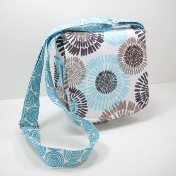 Aqua Messenger Bag, Small Messenger Bag, Cross Body Bag, Satchel, Aqua and Gray Mod Print