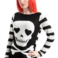 Gothic Lolita Dark Love Skull & Crossbones Black Striped Long Sweater