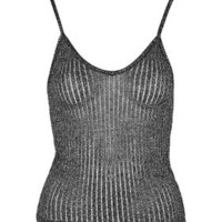 Knitted Metallic Cami - Black