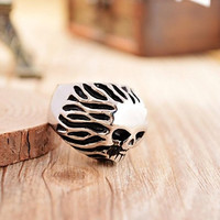 Men's Antique Silver Cast Metal Hair Skull Stainless Steel Ring
