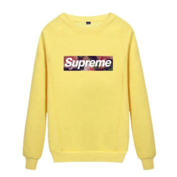 Supreme Round collar female loose couple costume Sweater Rose Yellow