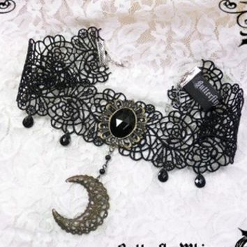 Moon Gothic Lolita Lace Choker $14.99-Lolita Necklace Chokers - My Lolita Dress