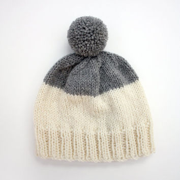 Weekender Wool Hat in Cream & Heather Grey - MADE TO ORDER