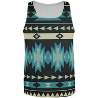 Native American Pattern Blue All Over Adult Tank Top