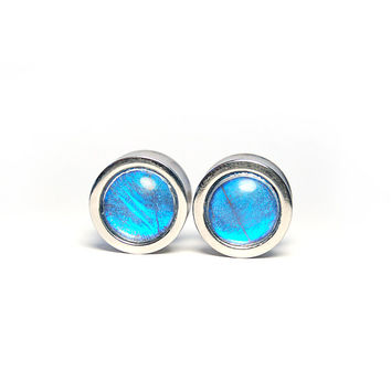 "1/2"" Butterfly Wing Plugs - Stainless Steel Double Flare - Gauges Stretchers Body Jewelry"