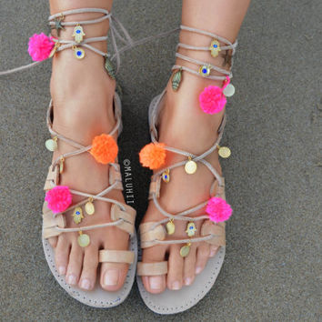 Greek Lace Up Sandals , Leather Sandals, Embellished Pom Poms & Charms Custom Handmade Beaded Beach Shoes