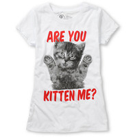 A-Lab Girls Are You Kitten Me White Tee Shirt