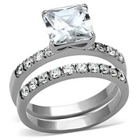 Princess and Round Brilliant Stainless Steel Wedding Ring Set