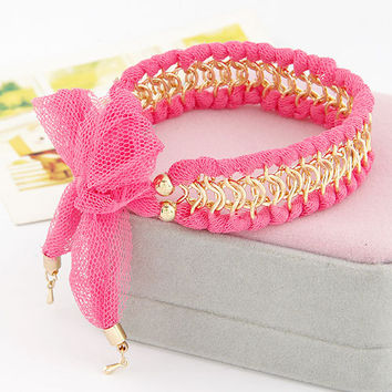 Lady-wearing Pink Fabric All-matching Chain Bracelet, Women's Fashion accessory, Birthday Gifts, Valentine's Day Gift,Party Jewelry 11041273