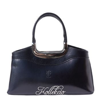 Elegant Italian Genuine Leather Black Handbag with Double Handle