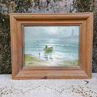 Vintage R J Neary Framed Print Eventide Nautical Wall Decor
