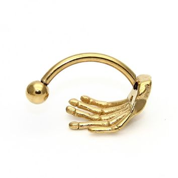 ZLDYOU Stainless Steel Gold Eyebrow Rings Hand Claw Ear Tragus Earring Skull Claw Belly Rings Body Piercing Jewelry Women Men