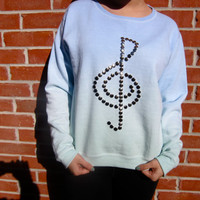 Studded Treble Clef Ombre Dip-Dyed Pastel Green and Blue Light Fleece-lined Sweatshirt-SIZE MEDIUM