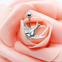 Belly button ring,Bird belly ring,Bird belly button jewelry