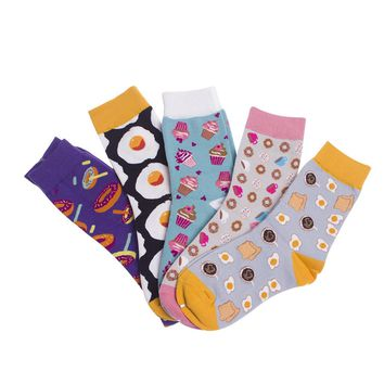 Donuts, Eggs, Cupcakes, Coffee, Bread, Bacon, Pizza, Pop corn, Beer, Burger Socks Funny Crazy Novelty Cute Funky