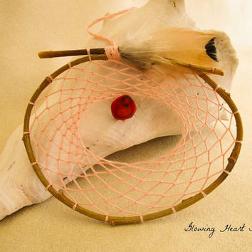 Thistle Pink Willow branch dream catcher - red bamboo coral