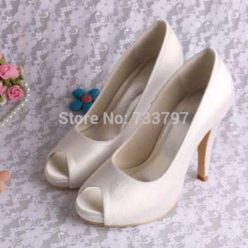 Wedopus MW706 Custom Handmade Ivory Heels Bride Shoes Platform Pumps Wedding Open Toe
