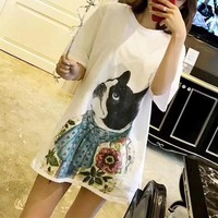 """Gucci"" Women Loose Casual Bow Bulldog Dog Pattern Print Short Sleeve T-shirt Middle Long Section Dress"
