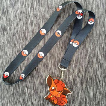 Pokemon Go cute Vulpix thicken acrylic necklace keychain id badge neck strap cosplay accessories lovely girls gift