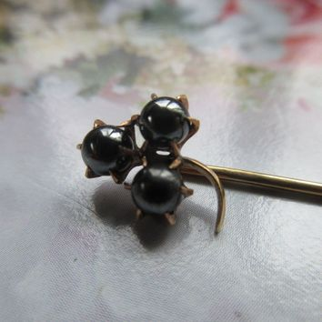 Antique Hematite 10K Spade Stick Pin Lapel Pin