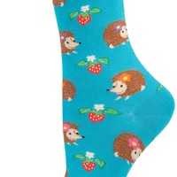 Women's Novelty Boutique Crew Sock From Socksmith Designs - Hedgehogs