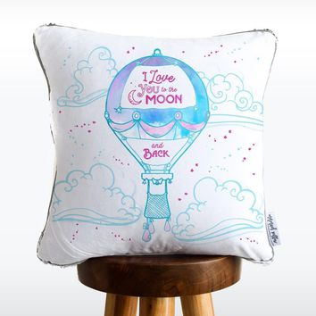 """I Love You to the Moon & Back"" Hot Air Balloon Mermaid Pillow with Iridescent & Silver Reversible Flip Sequins COVER ONLY (Inserts Sold Separately)"