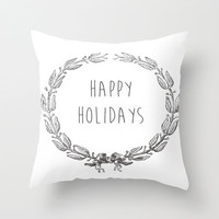 Happy Holidays White Throw Pillow California Style Beach Cottage Decor Victorian Christmas Wreath 16x16 18x18 20x20