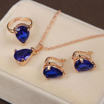 MINHIN Fashion Gold-color Jewelry Set Clover Style Necklace & Earring&Ring For Wedding Accessories Royal Blue Jewelry Set