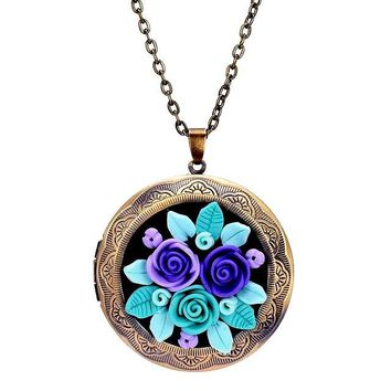 Bijoux Vintage Style Bronze Polymer Clay Rose Flower Floating Locket Pendant Necklace