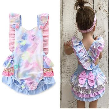 2018 Summer Cutie Pie Pastel Sleeveless Ruffled Bow On The Back Romper Pre Order