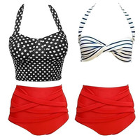 2015 New Swimwear Women Push Up Bikini Swimsuit Brand Vintage Retro Rockabilly Polka Dot High Waisted Bikinis