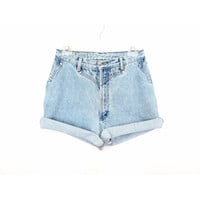 90's High Rise Studded denim shorts size - M - Waist 30""