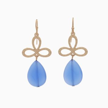 Blue Gold Teardrop Earring