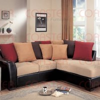 Coaster Lily Sectional Chaise Sofa, Cream Microfiber