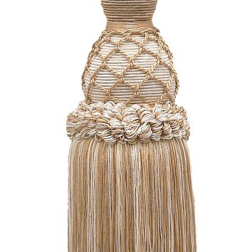 """Elegant Ivory, Light Beige  Curtain & Drapery Tassel Tieback / 10"""" tassel, 30 1/2"""" Spread (embrace), 3/8"""" Cord, Imperial II Collection Style# TBIN-1 Color: WHITE SANDS - 4001"""
