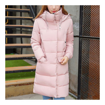 Winter Hooded Loose Middle Long Woman Down Coat   pink  M