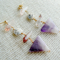 Amethyst Arrow Dangle Earrings