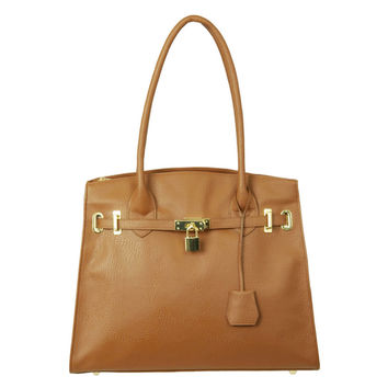 Pebble Grain Handbag with Lock Cognac