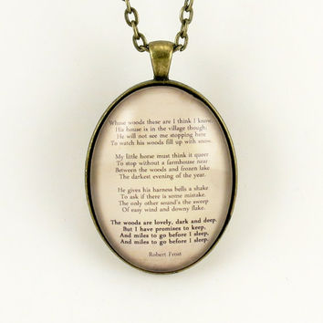 Robert Frost Poem Necklace Stopping by Woods on a by cellsdividing